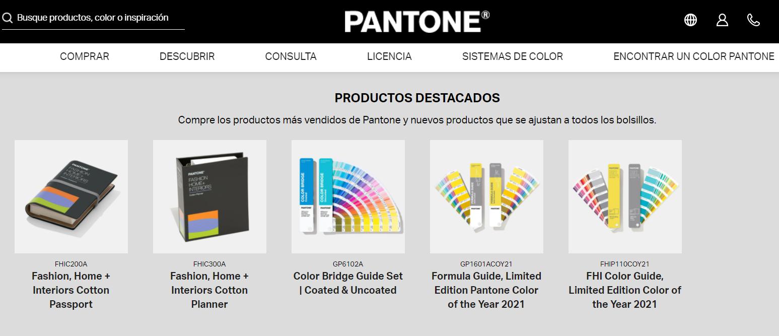 Acceso a la web de Pantone en castellano